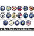 flags east coast region us vector image vector image