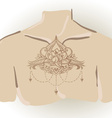 Freehand drawing of lotus tattoo on chest vector image vector image