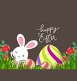 green easter eggs and bunny background vector image
