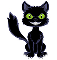 Happy black cat sitting vector image vector image