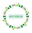 happy st patricks day flat design round frame vector image vector image
