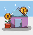 house to save money and con with plant vector image vector image