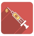 Infection Injection Flat Rounded Square Icon with vector image vector image