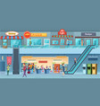mall interior retailers hypermarket commercial vector image vector image