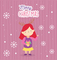 merry christmas little girl with gold bell and vector image