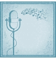 Microphone with music on vintage background vector image