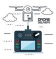 modern delivery of the package by flying drone vector image