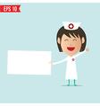 Nurse show blank board vector image