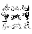 offroad motocross motorcycle silhouette set 9x eps vector image