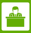 orator speaking from tribune icon green vector image vector image