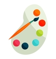 Palette with paints and brush icon cartoon style vector image