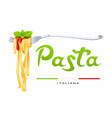 pasta at fork with basil vector image vector image