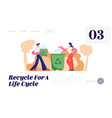 people throw garbage into containers and bags vector image vector image