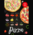 pizza ingredients italian fast food recipe vector image vector image