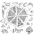 pizzan hand drawn vector image vector image