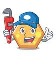 plumber hexagon mascot cartoon style vector image