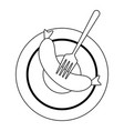 sausage with fork on dish black and white vector image