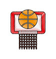 scribble basket ball in the hoop cartoon vector image vector image