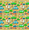seamless pattern with cartoon cars vector image vector image