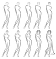 Sequence of creation a beautiful female contour vector image vector image
