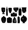 set different vases pots bowls with grunge vector image
