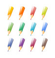 set of bright color pencils vector image