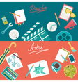 Set of flat concepts for design development and vector image