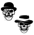 Set of Skulls in hat and monocle Design element vector image vector image
