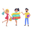 shopaholic friends with promotion in hands banner vector image vector image