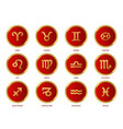 signs zodiac in red circle on a white background vector image vector image