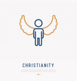 silhouette angel with wings thin line icon vector image