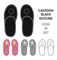 slippers icon in cartoon style isolated on white vector image
