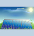 solar battery power green grass blue sky and vector image