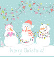 winter card with cartoon cute snowmen vector image