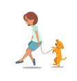 woman girl walking with dog labrador retriever vector image