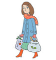 woman with eco-bags vector image vector image