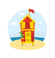 wooden bungalow with flag on tropical coast sea vector image