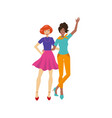 young girls hugging happily flat isolated vector image vector image