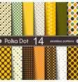 fourteen different round shape polka dot seamless vector image