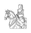 warrior samurai japanese character riding horse vector image