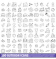 100 outdoor icons set outline style vector image vector image