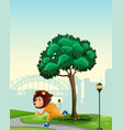 a lion playing roller skate in park vector image vector image