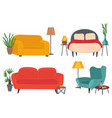 armchairs and sofas set living room furniture vector image