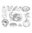 autumn holiday hand drawn symbols set vector image vector image