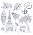 balinese symbols set vector image vector image