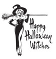 beautiful sexy witch holding broomstick happy vector image
