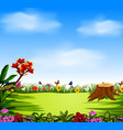 beautiful view with the blue sky and garden vector image vector image