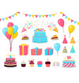 birthday party cartoon decorations child partying vector image
