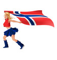 blonde girl fan holding flag of norway vector image