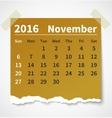 Calendar november 2016 colorful torn paper vector image vector image